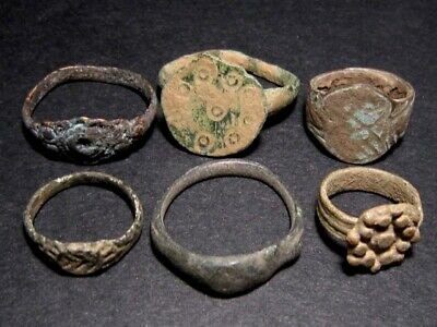 LOT of 6 pcs. ANCIENT ROMAN, BYZANTINE AND MEDIEVAL FINGER RINGS+++TOP VARIETY+