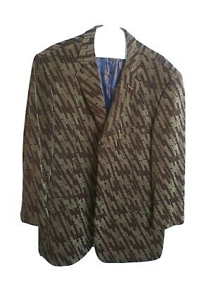 Mens Suits Blazer Printed Coat Dress Formal Tops Design Jackets -Brown and Tan