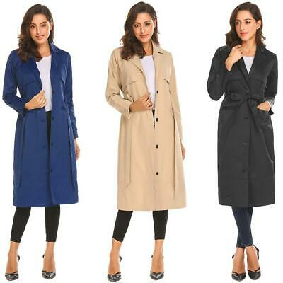 Women Lapel Single Breasted Loose Fit Casual Long Trench Coat w/ Belt H1PS