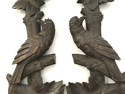 "2 18"" Large Antique German Carved Wood Birds Glass Eyes Clock Part or Pediment"