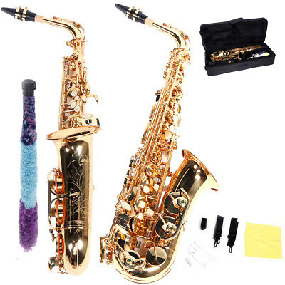 New Outstanding Well-centered Sound Alto Eb Golden Saxophone Sax w/ Case