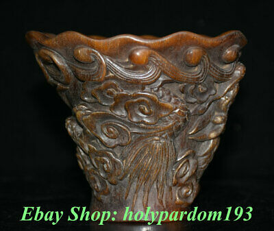 "5"" Marked Old Chinese Ox Horn Carved Dynasty Palace Dragon Beast Drink Wine Cup"