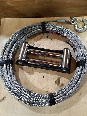 "Wire Rope Winch Line 3/8"" X 84' And Fair Lead"