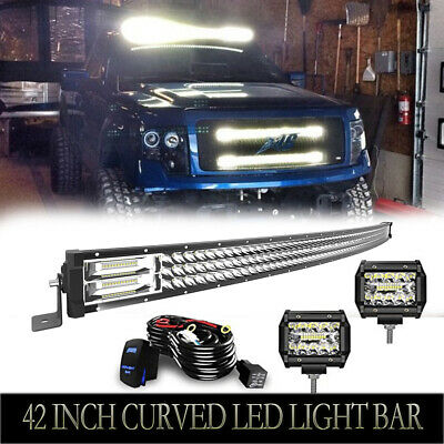 "Curved 42inch 576W LED Light Bar + 2x 4"" Led Pods For Offroad Truck ATV Ford"