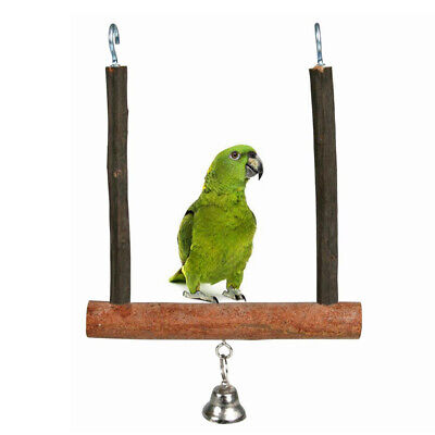 FT- GI- Parrot Birds Wooden Perch Play Toy Stand Holder Swing Bell Cage Hanging