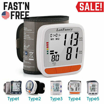 Digital Wrist BP Cuff Blood Pressure Monitor Heart Beat Pulse Rate Meter w/ Case