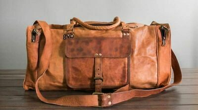 """24"""" Men's Real Leather Travel Luggage Large Duffel Gym Holdall Weekend Bag New"""