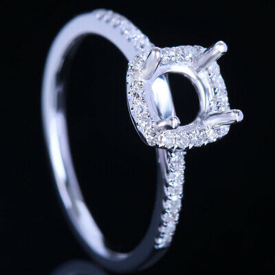 Round 5.5-6.5mm Semi Mount Halo Natural SI/H Diamond Engagement Ring Fine Silver