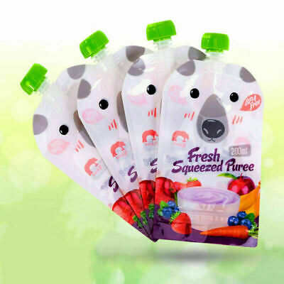 8x Cute Reusable Resealable Squeezes Food Pouch Storage Bags Baby Food 200ML
