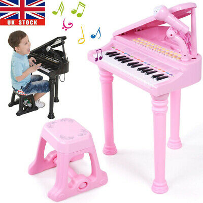 Kids Electronic Grand Piano Childrens Keyboard Toy 31 Keys Microphone Stool Seat