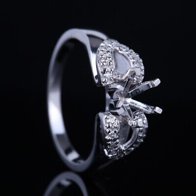 Silver Round 6.5mm Natural SI/H Diamond Engagement Fine Ring Semi Mount Setting