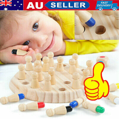 Educational Memory Match Stick Chess Wooden Kids Puzzle Game Training Toys AU