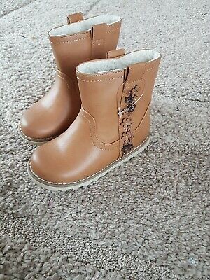 Next Girl Brown Flower Detail Boots Size Uk Infant 6