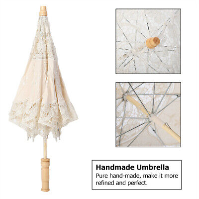 Handmade Lace Flower Embroidery Parasol Wedding Photography Umbrella Props Gift