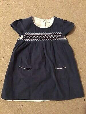 LITTLE WHITE COMPANY pretty girls blue cord smocked dress - 18-24 months