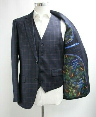 Men's Harry Brown Slim Fit 3pc Suit in Checked Dark Navy Blue (40R)..Ref: 6778