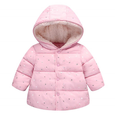 Kids Baby Hooded Down Cotton Padded Jacket Girls Winter Wadded Coat Warm Quilted