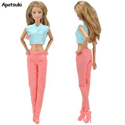 Doll Clothes for Barbie Doll Outfit Suit Blue Short Top Pink Long Pants Trousers
