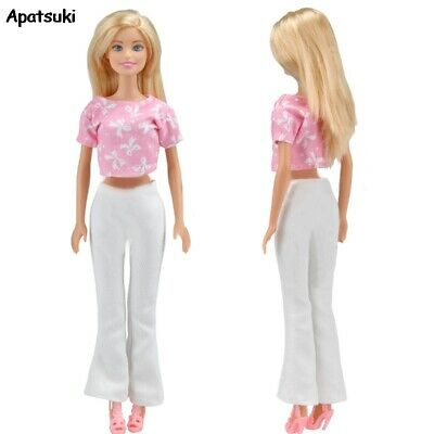 Pink Clothes for Barbie Doll Outfits Fashion Short Tops Long Pants Trousers 1/6
