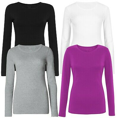 Marks & Spencer Womens Pure Cotton Long Sleeve Crew Neck M&S T Shirt Top