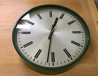 Vintage Smiths Industries Clock Company Green Wall Clock Spares Or Repairs
