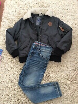 Cool Boys F&F Bomber Slyle Jacket And BLUEZOO Slim Fit Jeans .Age 4-5 Years.VGC.