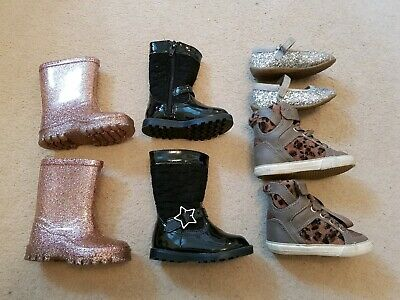Size 4 Toddler Girls Shoe Bundle Boots Wellies Animal Print Hi Top Silver Party