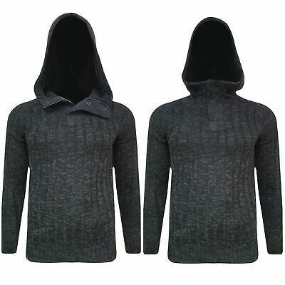 New Men Hooded Weave Knit Jumper Pullover Hoodie Thick Warm Sweater Tops Button