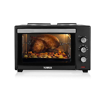 Tower Stainless Steel Mini Oven with Double Hotplates and Rotisserie, 42 Litre,