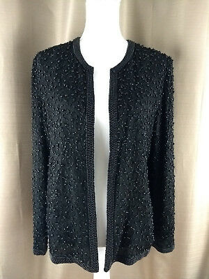 Papell Boutique Evening Open Front Beaded Black Silk Jacket Size Medium