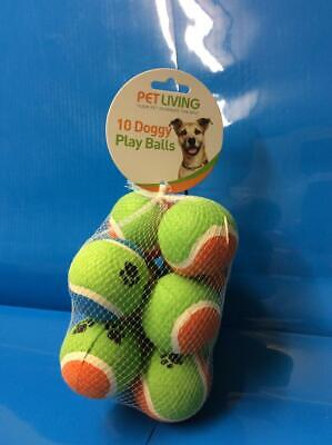 Pet Living 10 Doggy Play Balls Assorted Colours Throw Fetch Chase Dog Puppy Toys