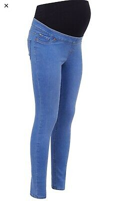 New Look Over The Bump Blue Stretch Maternity Jeggings Light Wash Size UK 20