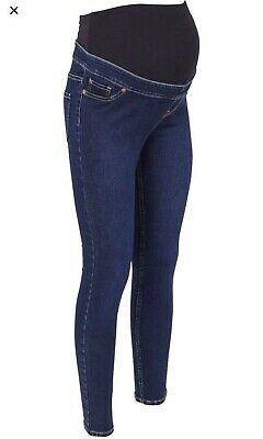 New Look Over The Bump Blue Stretch Maternity Jeggings Indigo Wash Size UK 20