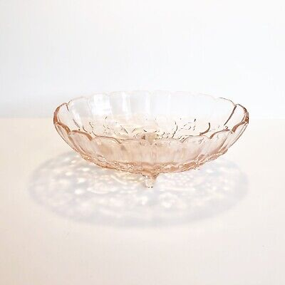 VTG Indiana Heavy Pink Depression Glass Harvest Grape Embossed Footed Oval Bowl