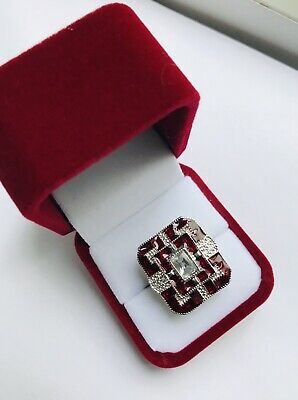 Antique Art Deco Style 14K White Gold Plated Red Sapphire & Lab Diamond Size 8