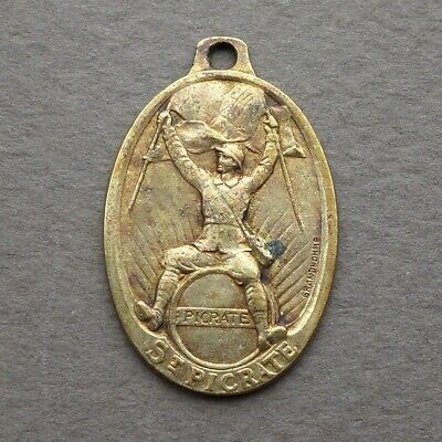 WWI French Antique Brass Religious Pendant Saint Picrate Medal by Grandhomme