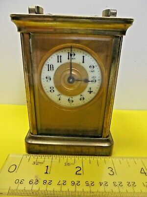 Antique Victorian Old Vintage Brass Case Timepiece Carriage Clock Lion Make +Key