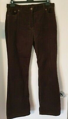 Ladies M&S Chocolate Brown Cord Trousers Size 16 Medium Marks & Spencer