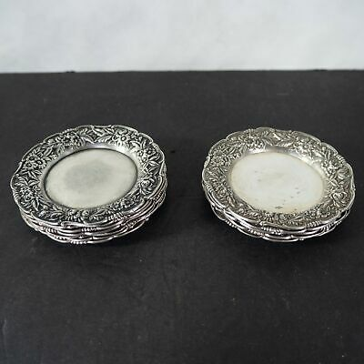 S. Kirk and sons, Repousse sterling butter dishes, set of 6pc.