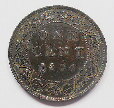 1894 Large Cent VF-EF ** SCARCE Date LOW Mintage KEY Queen Victoria Canada Penny