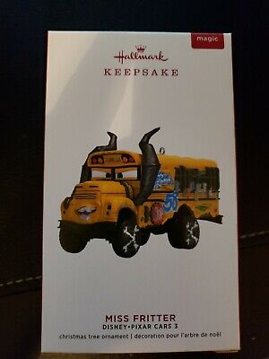 Miss Fritter Disney Pixar Cars 3  2019 Hallmark Ornament with Sound School Bus -
