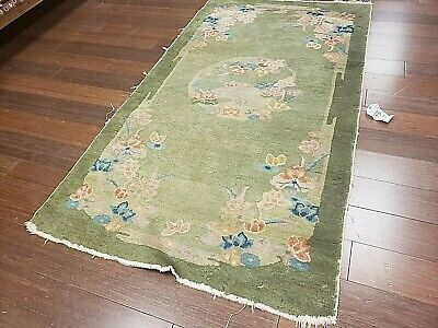 3x5 CHINESE RUG VINTAGE ART DECO NICHOLS AUTHENTIC HAND-MADE ORIENTAL RUG 1960s