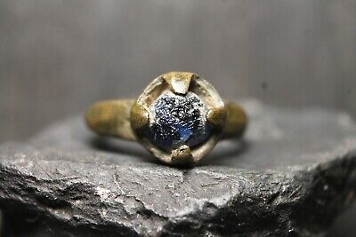 Ancient Unique Viking Bronze Stone Ring , Authentic Artifact, 6-11th Century AD.