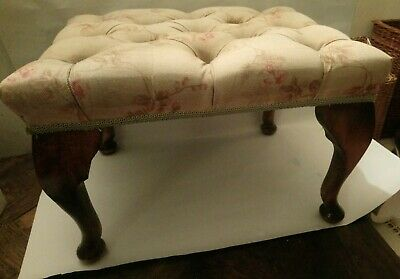Vintage Footstool 12 ins high. Deep Buttoned Pale Floral Lined Top. Heavy.