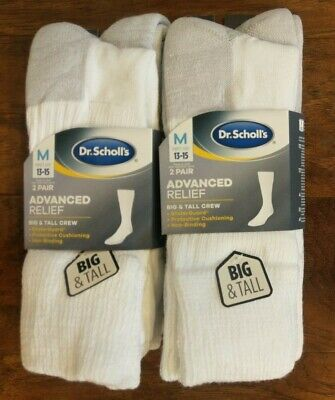 Dr. Scholls Mens Big Tall Advanced Relief White Diabetic Crew Socks, 4 Pair, NEW