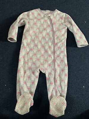 Next Girls Pink & Grey Bunny Rabbit All In One Zip Up Fleece Age 2-3 Years