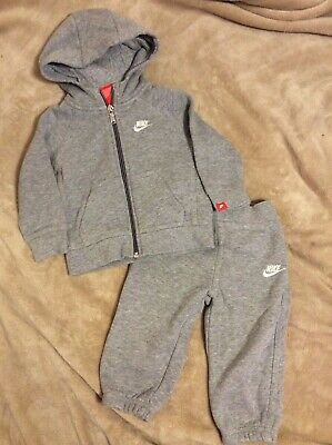 Baby Boys Nike Grey Jersey Hooded Zip Top Jogging Bottoms Tracksuit 9-12 Months