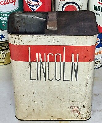 Old Lincoln 2 Gallon Motor Oil Metal Can Empty