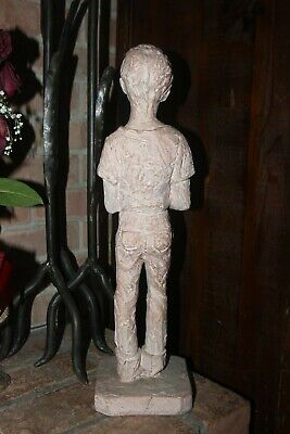 BOY with DOG PUPPY SIGNED Mid century Statuette  Leonard ART Terracotta Vintage