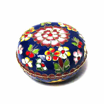 Exquisite Round Lucky Navy Blue Floral Cloisonne' Box